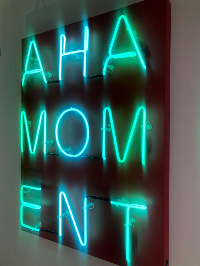 Acrylic and Neon on Panel Titled: AHA MOMENT  For Sale 3
