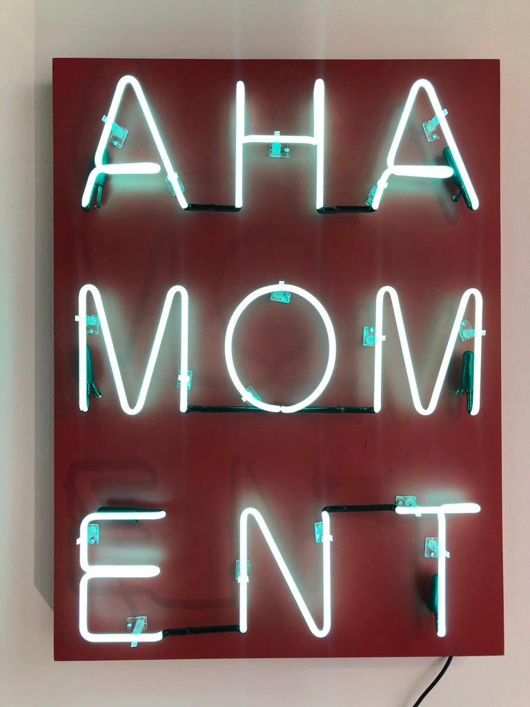 Acrylic and Neon on Panel Titled: AHA MOMENT  For Sale 4