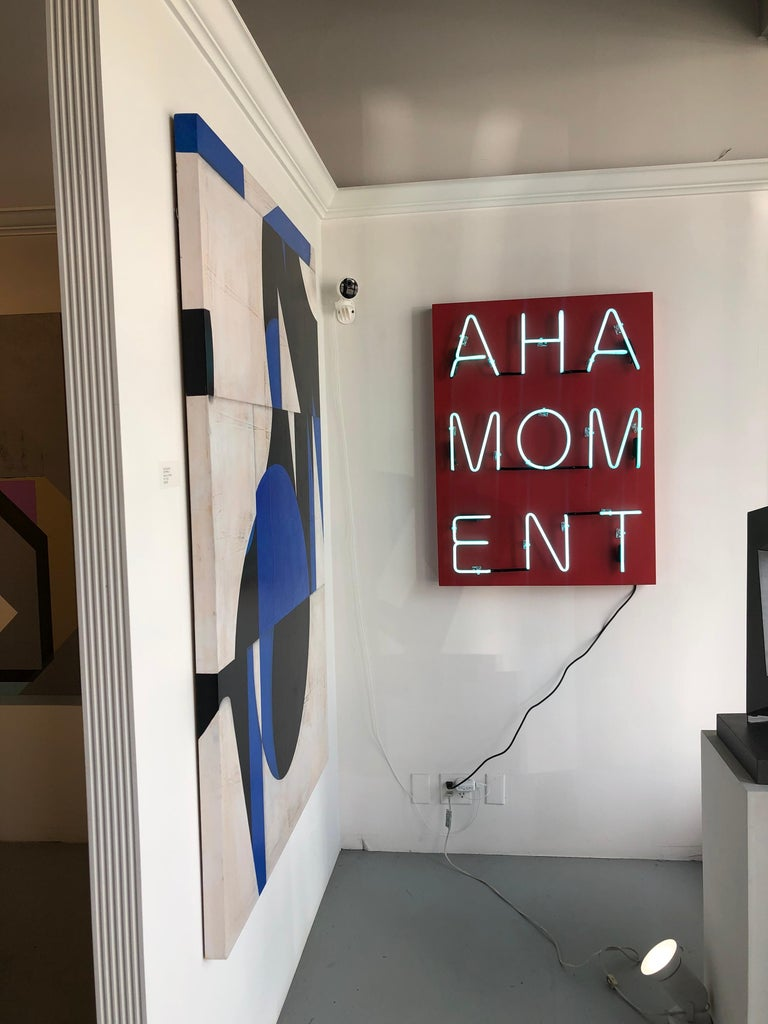 Acrylic and Neon on Panel Titled: AHA MOMENT  For Sale 5