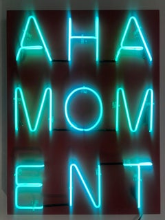 Acrylic and Neon on Panel Titled: AHA MOMENT