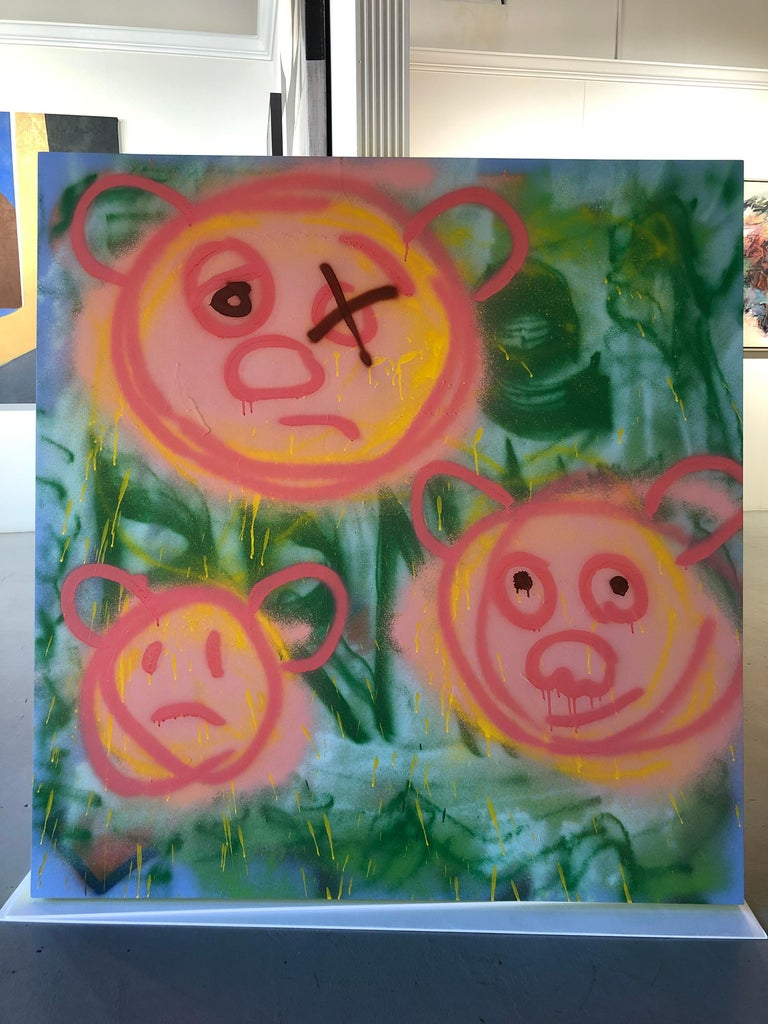 "Acrylic on Panel Titled: ""3 Pig-Bears"" For Sale 2"