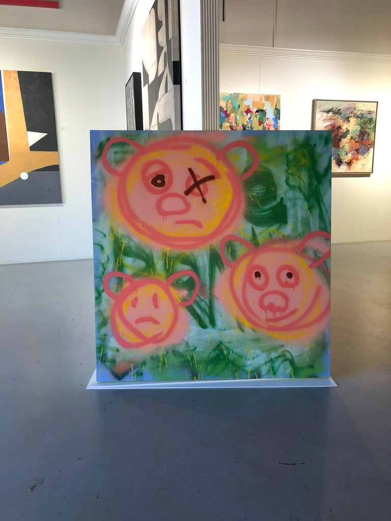"Acrylic on Panel Titled: ""3 Pig-Bears"" For Sale 3"