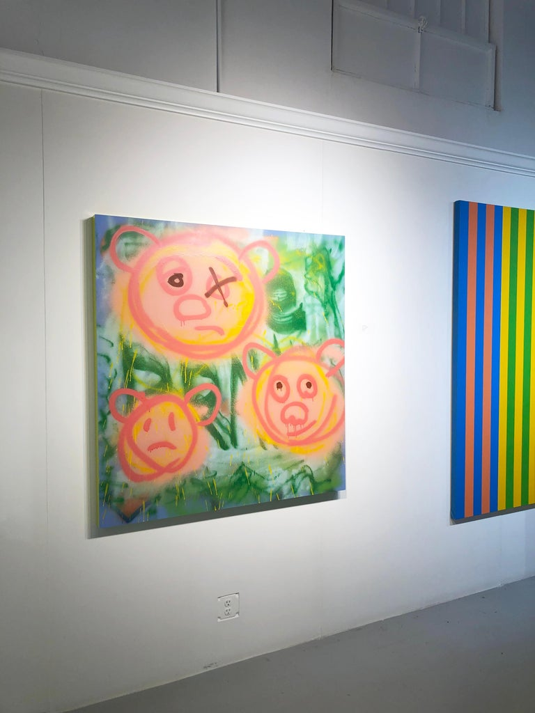 "Acrylic on Panel Titled: ""3 Pig-Bears"" For Sale 6"
