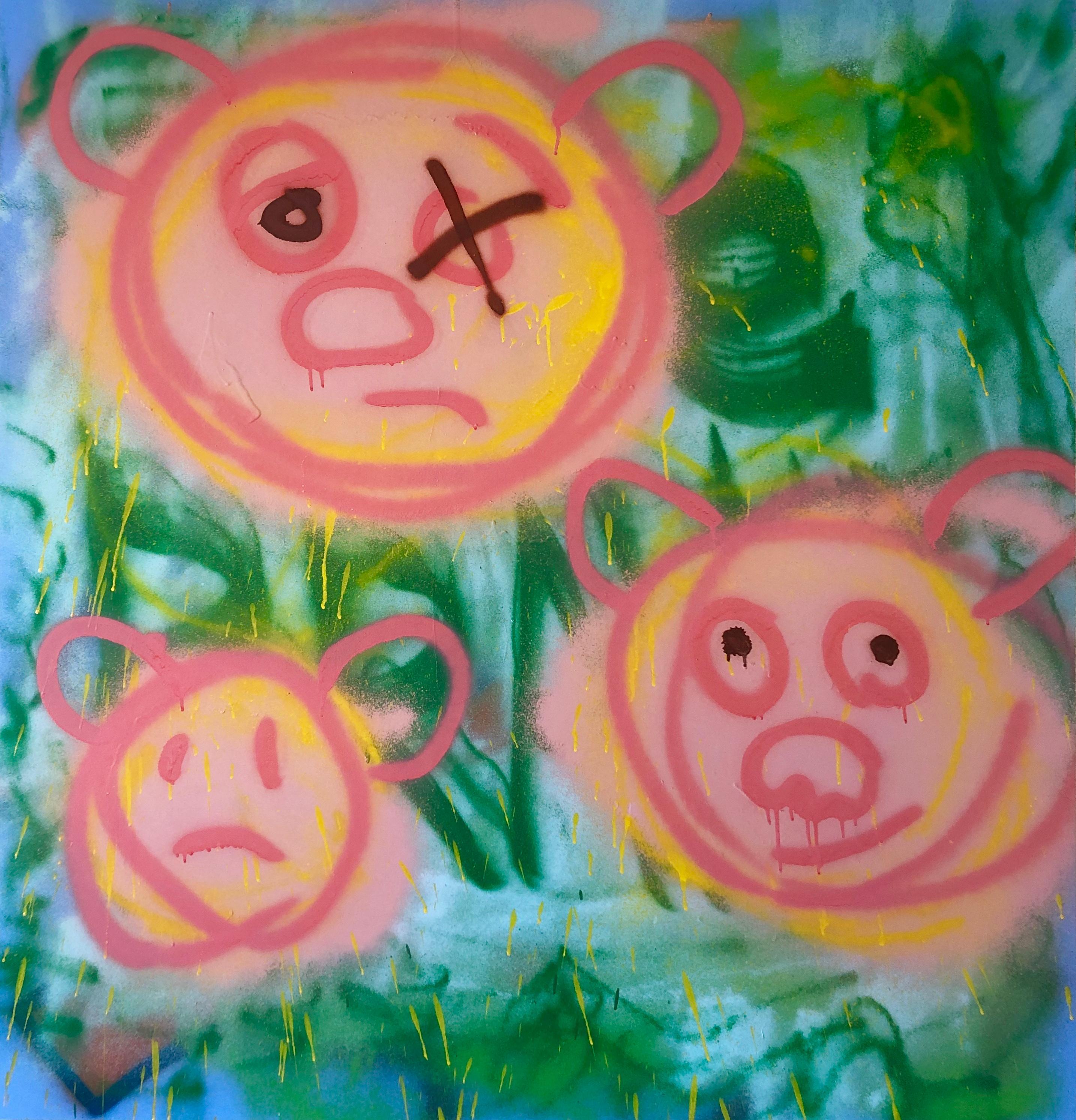 "Acrylic on Panel Titled: ""3 Pig-Bears"""
