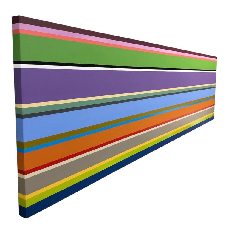 William Finlayson Abstract Painting - Original Abstract Color Block Stripe Painting