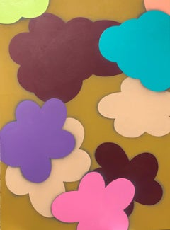 "Original Painting on Panel Titled: ""Cloudy with a Chance of Flowers I"""