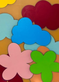 "Original Painting on Panel Titled: ""Cloudy with a Chance of Flowers II"""