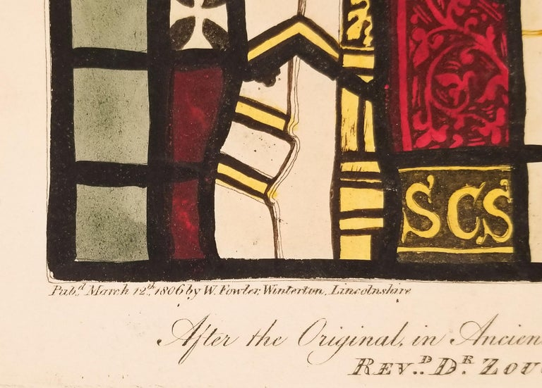 William Fowler Engraving after Stained Glass in the House of Rev. De Zouch - Beige Figurative Print by William Fowler