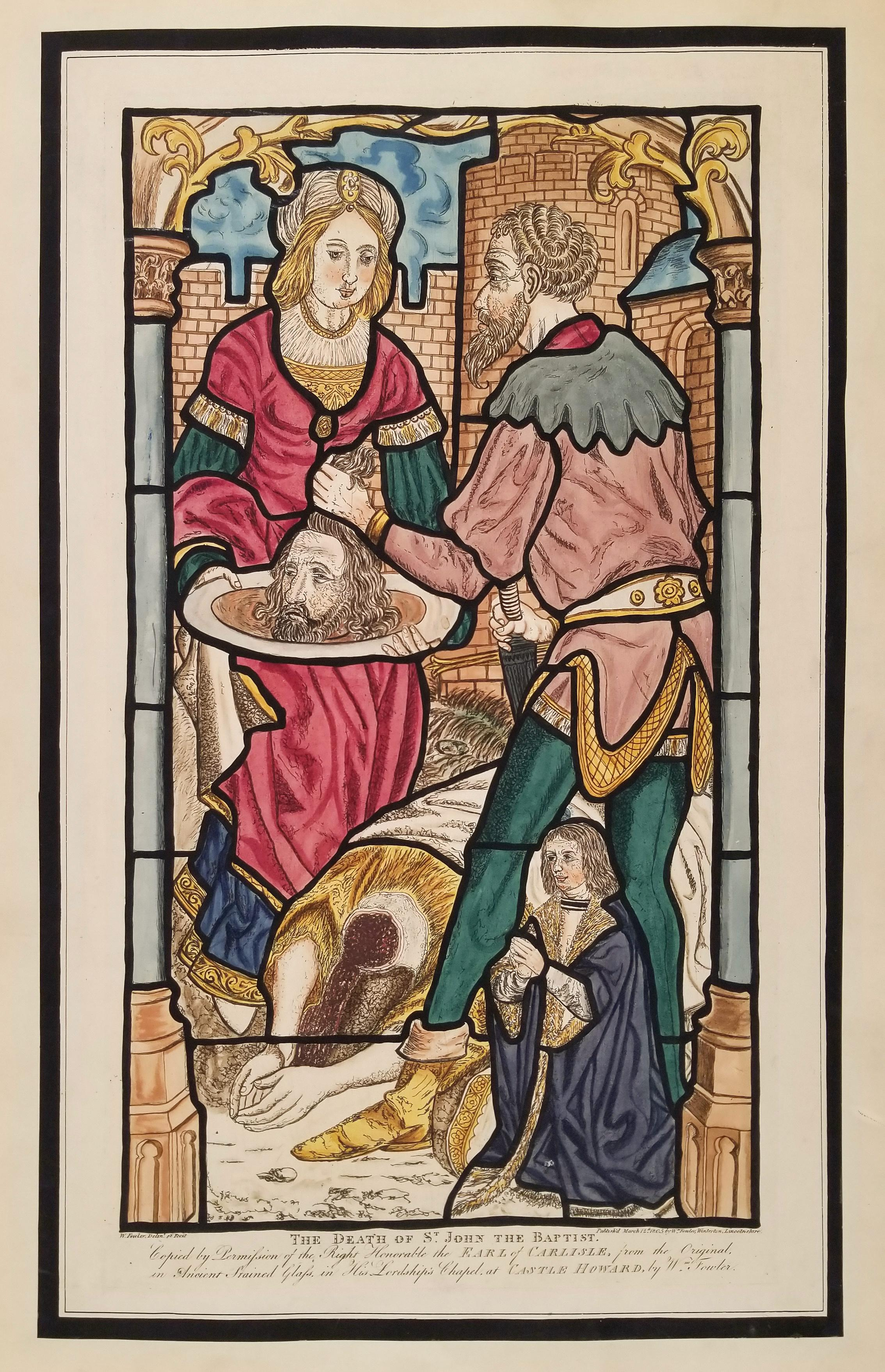 William Fowler Engraving after Stained Glass of the Death of John the Baptist