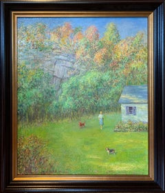 Backyard Scene with Woman and Dogs, Impressionist Landscape of Figure and House