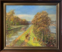 Canal Scene with Mules and Barge, Impressionist Landscape by the Delaware River