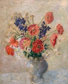 Floral Still Life, Impressionist Interior Table Top Still Life of Flower Bouquet