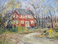 Red Farmhouse, Bucks County PA, Impressionist Spring Landscape with House