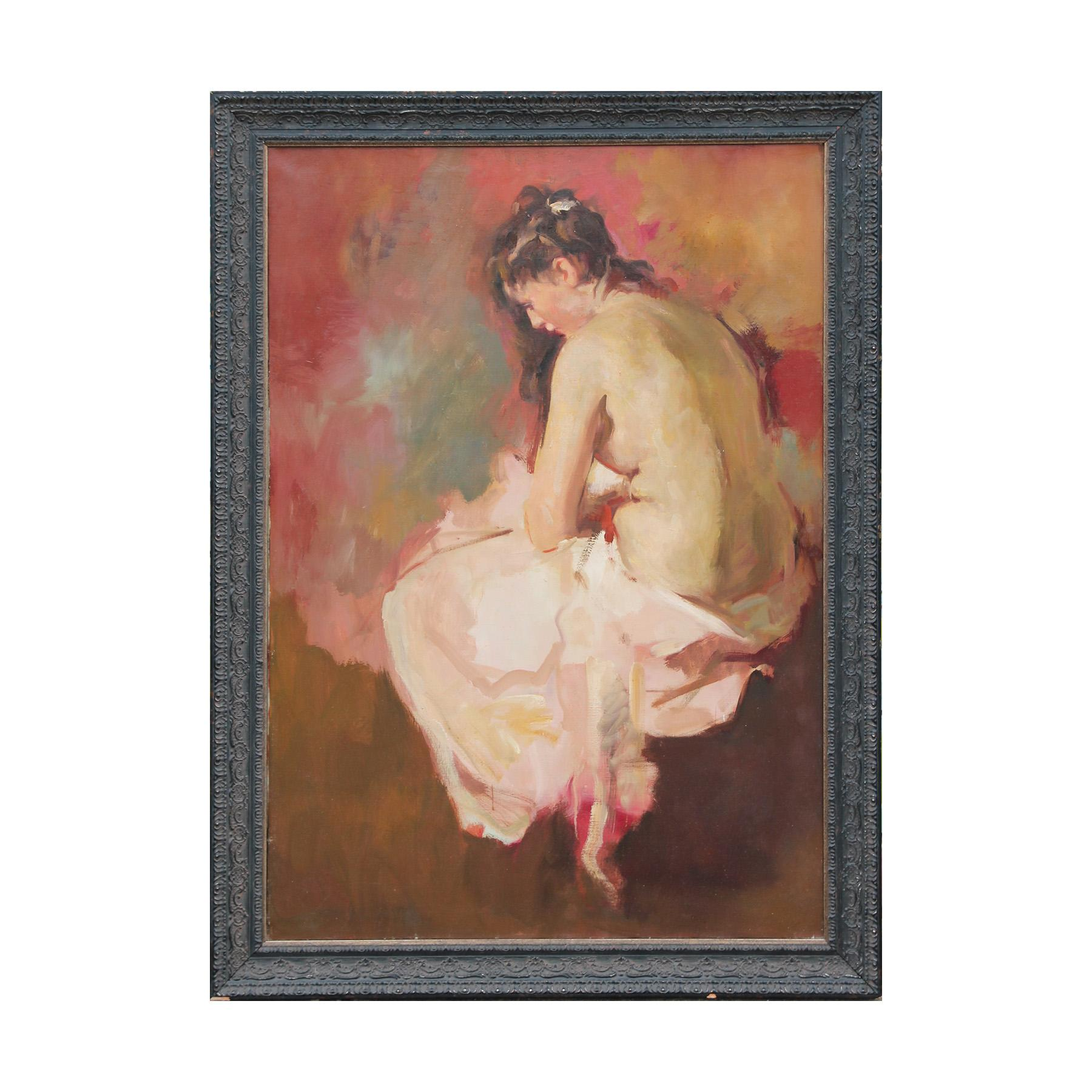"""""""Mary on the Bath"""" Impressionist Peach-Toned Nude Female Portrait Painting"""