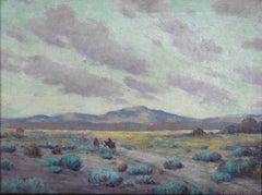 """A Breezy Evening"" ""West Texas near Marfa"" Herding Cattle Dated 1931"
