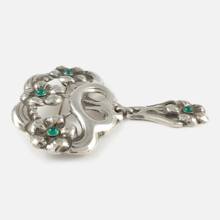 Arts and Crafts William Fuglede Danish Skønvirke Silver and Chrysoprase Cabochon Brooch For Sale