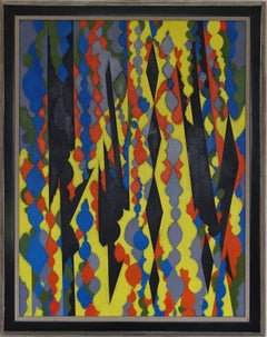 Diamond Structure - British Abstract Expressionist oil painting yellow blue. Exh