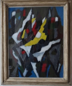 Landscape with Yellow Form - Scottish Abstract oil painting - Cobra Modernist