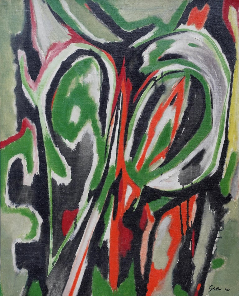 Spring Passage - Scottish art Abstract Expressionist oil painting Cobra Paris  - Painting by William Gear