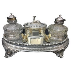 William & George Sissons Victorian Silver Plated Inkstand, circa 1870