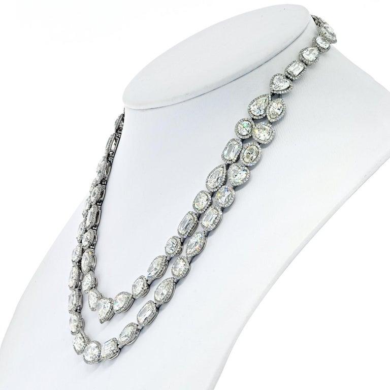 Modern William Goldberg 63 Carat Spectacular Diamond Infinity Necklace For Sale