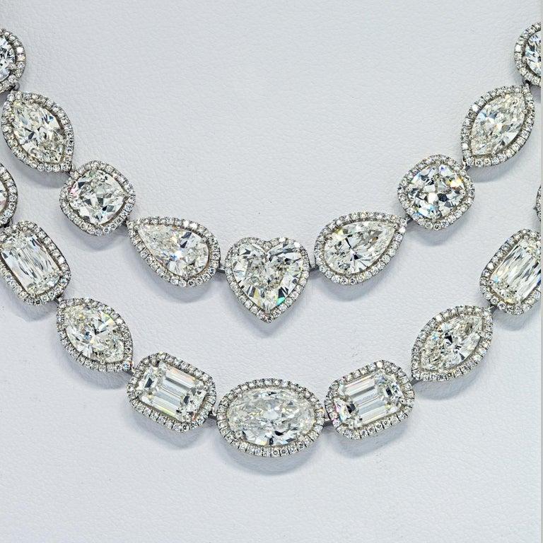 Emerald Cut William Goldberg 63 Carat Spectacular Diamond Infinity Necklace For Sale
