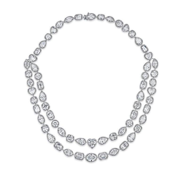William Goldberg 63 Carat Spectacular Diamond Infinity Necklace For Sale 1