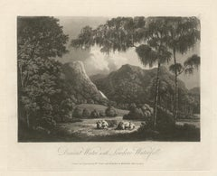 Derwent Water and Lowdore Fall, Lake District scenery, C19th English aquatint