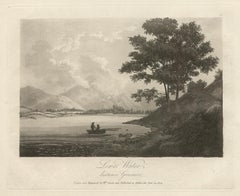 Lowes Water, distance Grasmire, Lake District scenery C19th English aquatint