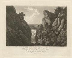 Waterfall on Fordingdale beck, Lake District scenery C19th English aquatint