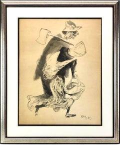 Americana Farmer and Wife, Gouache Painting WPA Art William Gropper Woodchopper