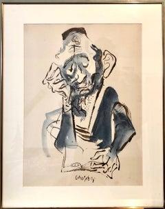 Jewish Rabbi Americana Judaica Watercolor, Ink Painting WPA Art William Gropper