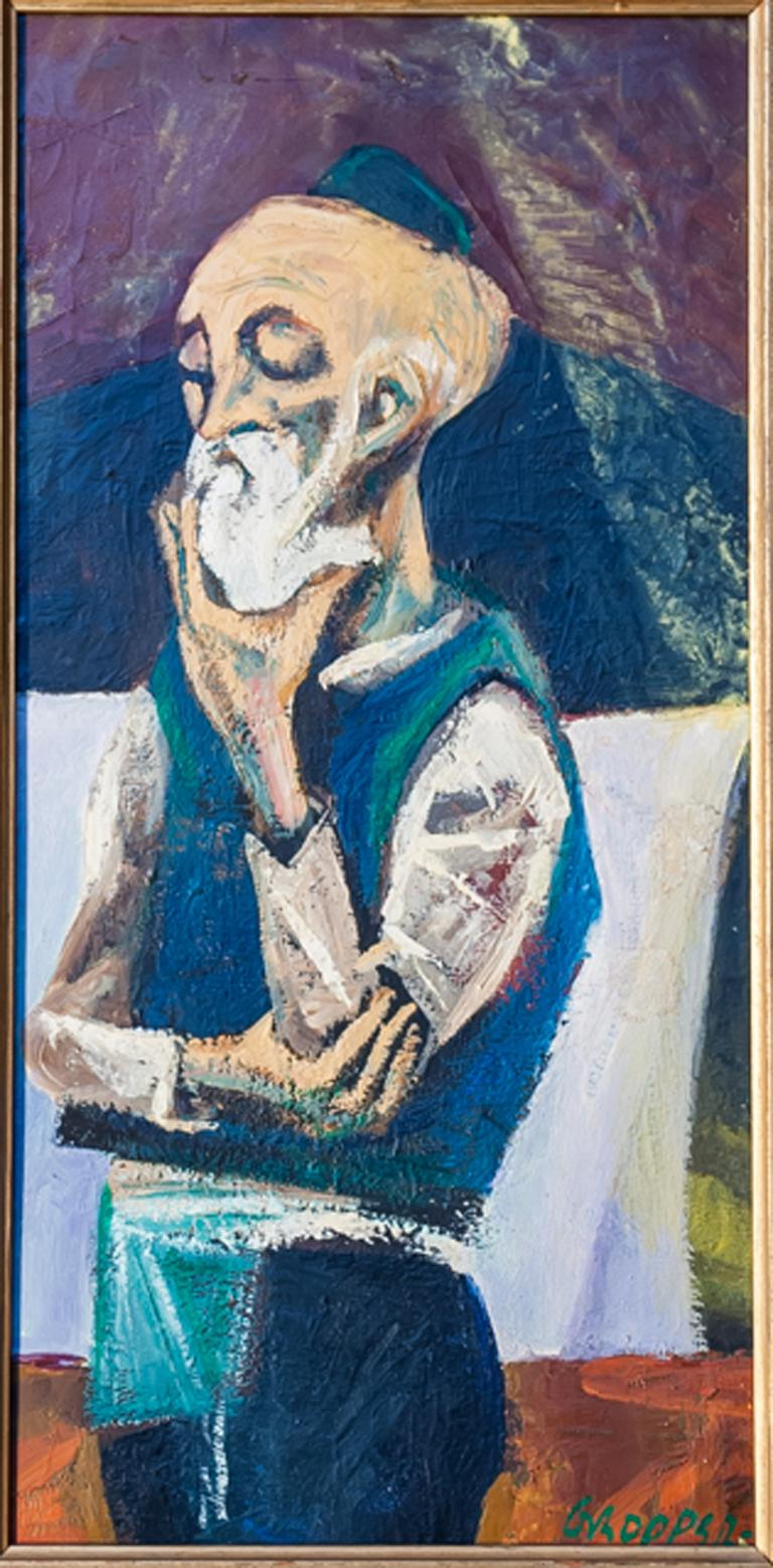 Artist: William Gropper, American (1897 - 1977) Title: Old Man Thinking Year: circa 1950 Medium: Oil on Masonite, signed l.r. Size: 15 in. x 7.5 in.