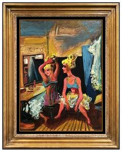 William Gropper Original Oil Painting On Board Signed Portrait Female Dance Art