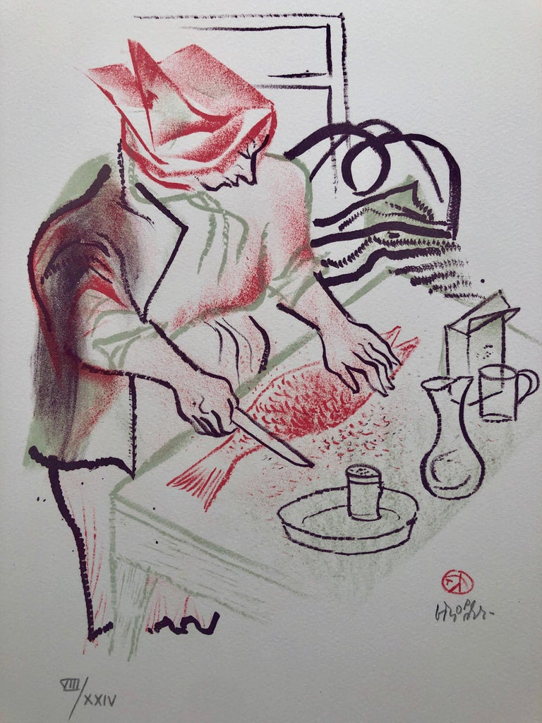 Gefilte Fish Jewish Shtetl Americana Judaica Lithograph WPA Yiddish Art - Print by William Gropper