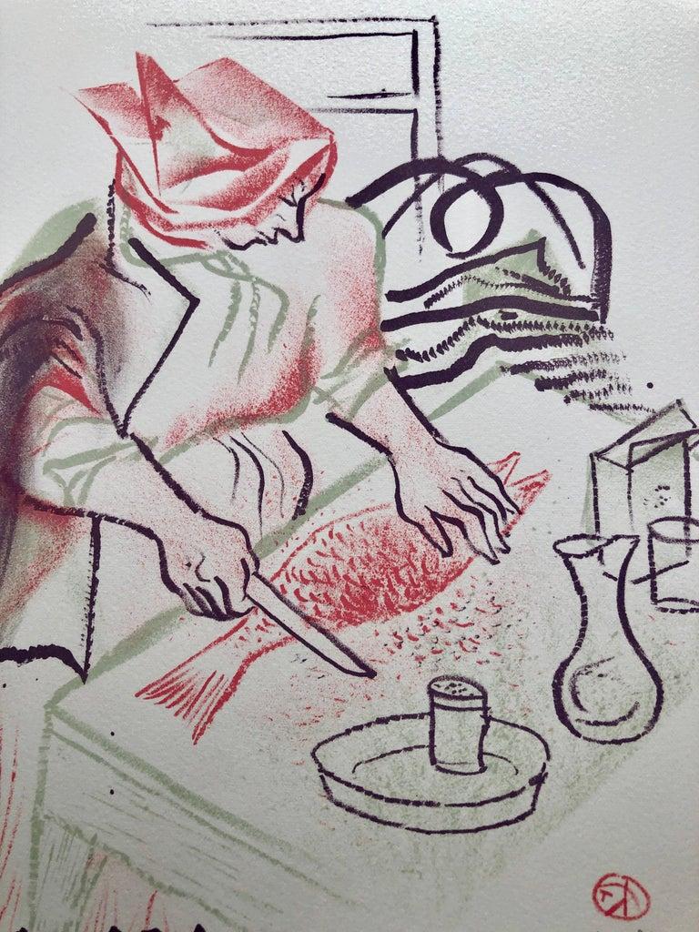Gefilte Fish Jewish Shtetl Americana Judaica Lithograph WPA Yiddish Art - Modern Print by William Gropper