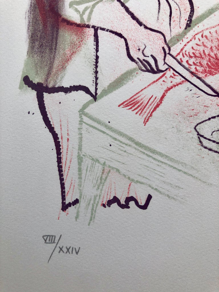 Hand signed in pencil and numbered with Roman numerals 8/24. A very small edition. Old Lower East Side of New York or East European Shtetl. A woman preparing the Sabbath Gefilte fish. The New-York born artist William Gropper was a painter and