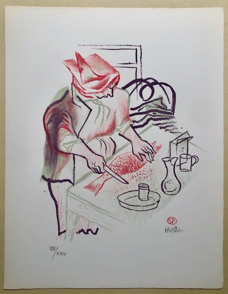 Gefilte Fish Jewish Shtetl Americana Judaica Lithograph WPA Yiddish Art For Sale 1