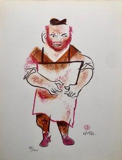 Jewish Shtetl Butcher Americana Judaica Lithograph WPA Yiddish Social Realist