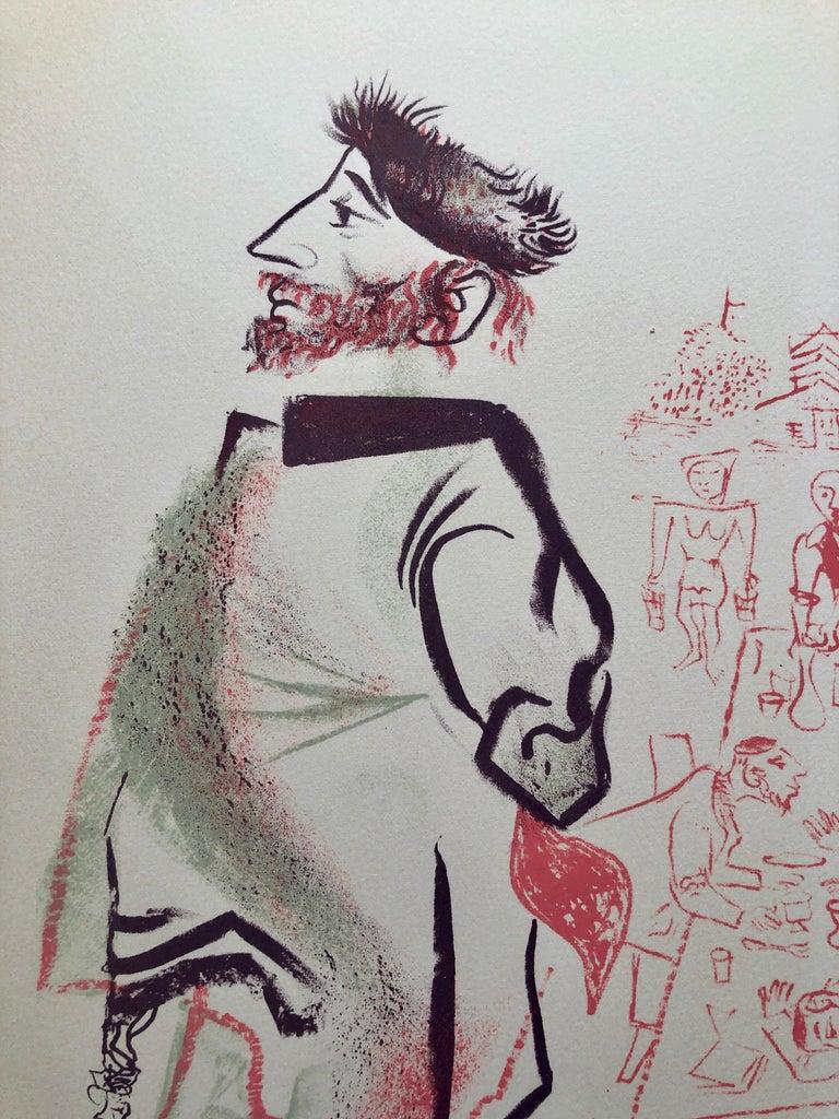 Jewish Shtetl Groise Macher Judaica Lithograph WPA Yiddish Social Realist Print - Gray Figurative Print by William Gropper