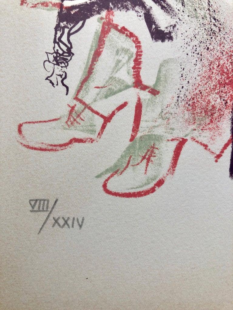 Jewish Shtetl Groise Macher Judaica Lithograph WPA Yiddish Social Realist Print For Sale 1