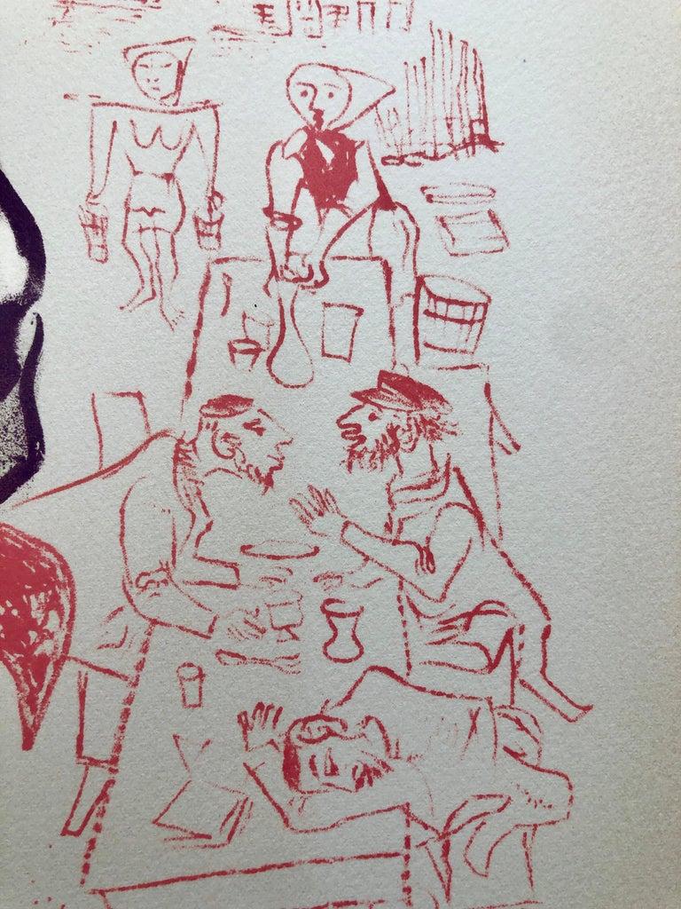 Jewish Shtetl Groise Macher Judaica Lithograph WPA Yiddish Social Realist Print For Sale 2
