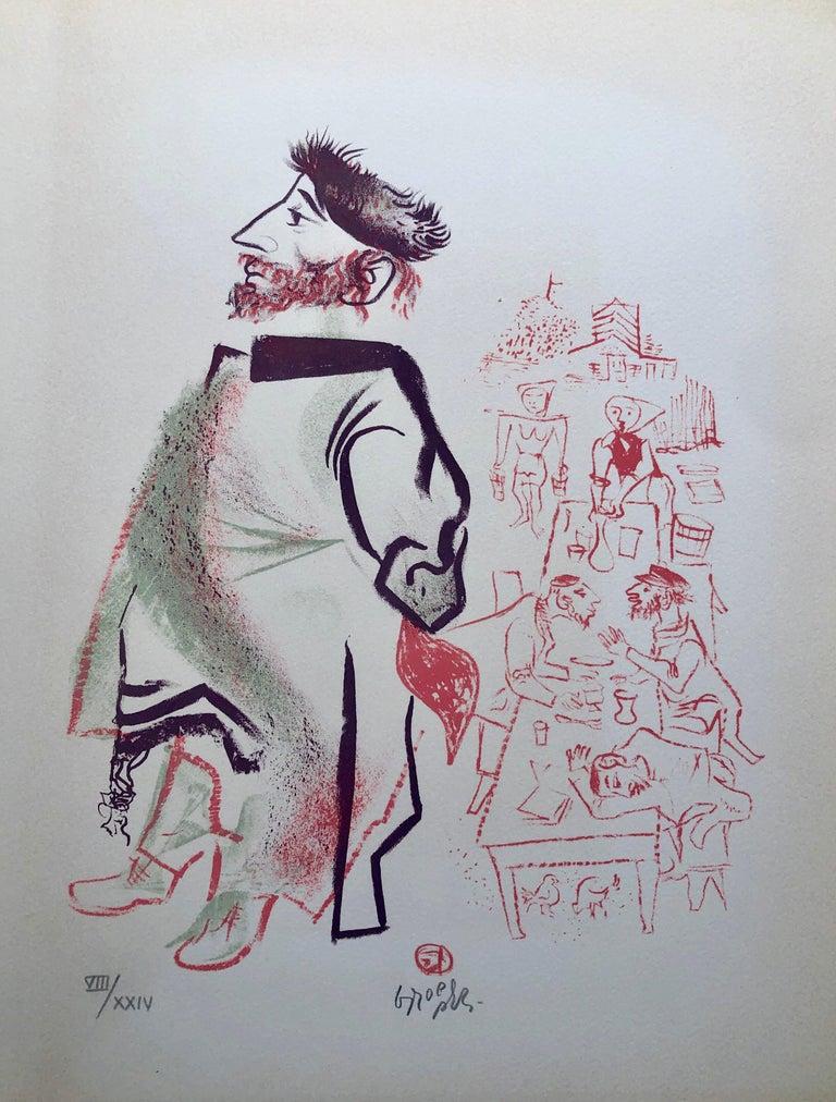 William Gropper Figurative Print - Jewish Shtetl Groise Macher Judaica Lithograph WPA Yiddish Social Realist Print