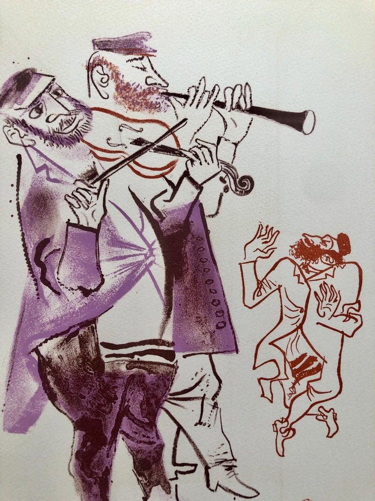 Jewish Shtetl Klezmer Musicians Judaica Lithograph WPA Yiddish Social Realist - Print by William Gropper