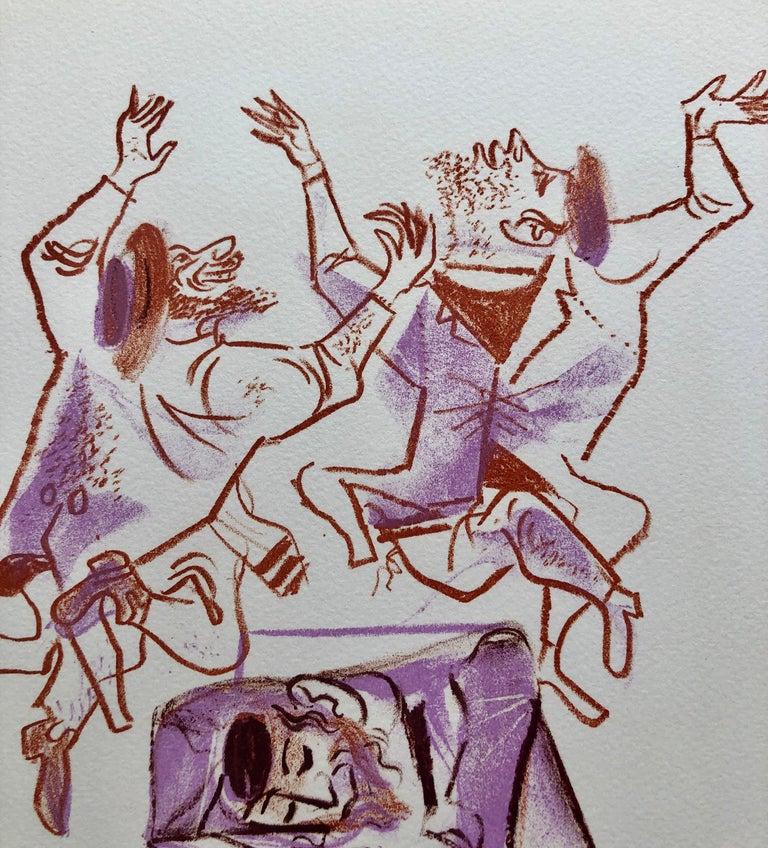 Jewish Shtetl Klezmer Musicians Judaica Lithograph WPA Yiddish Social Realist - Modern Print by William Gropper
