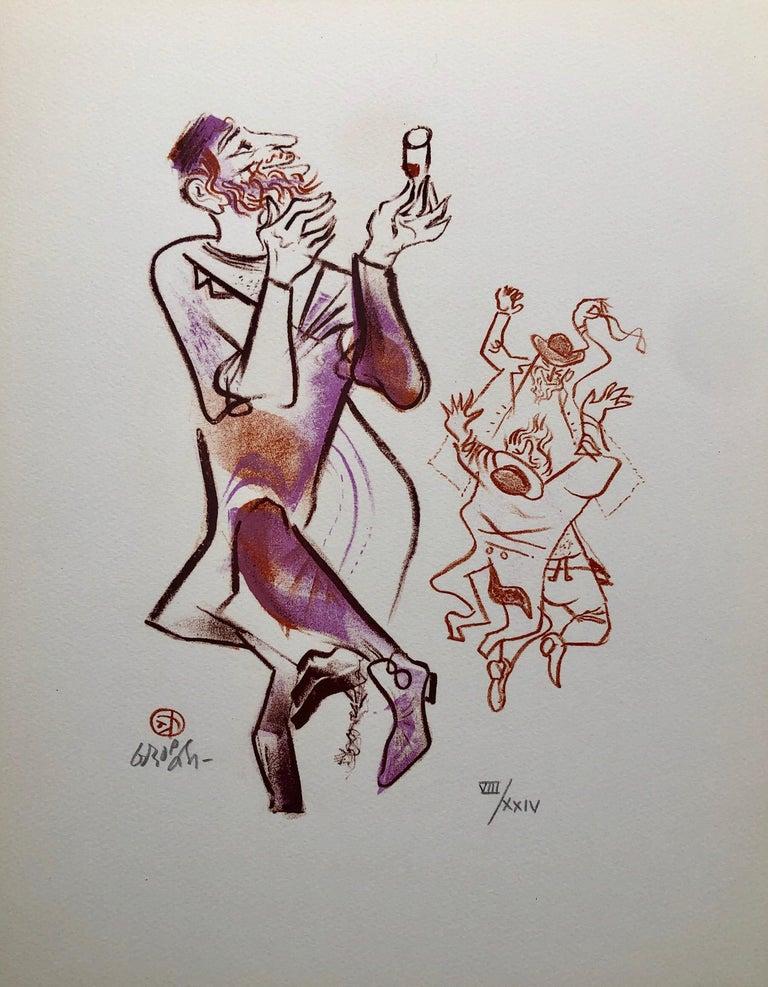 William Gropper Figurative Print - Jewish Shtetl Klezmer Wedding Tanz Judaica Lithograph WPA Yiddish Social Realist