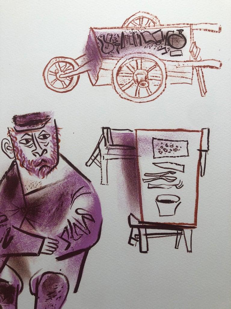 Jewish Shtetl Machers Americana Judaica Lithograph WPA Yiddish Social Realist  - Modern Print by William Gropper