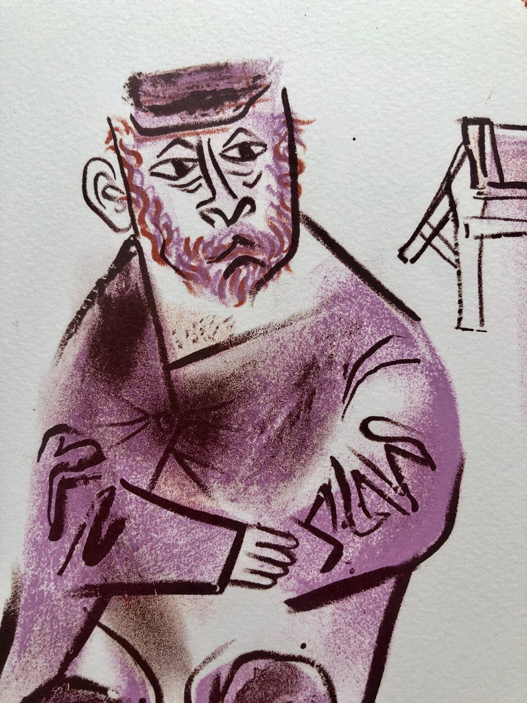 Jewish Shtetl Machers Americana Judaica Lithograph WPA Yiddish Social Realist  - Gray Figurative Print by William Gropper