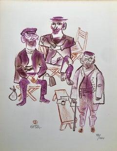 Jewish Shtetl Machers Americana Judaica Lithograph WPA Yiddish Social Realist