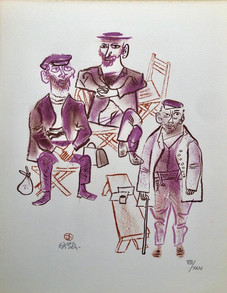 William Gropper Figurative Print - Jewish Shtetl Machers Americana Judaica Lithograph WPA Yiddish Social Realist